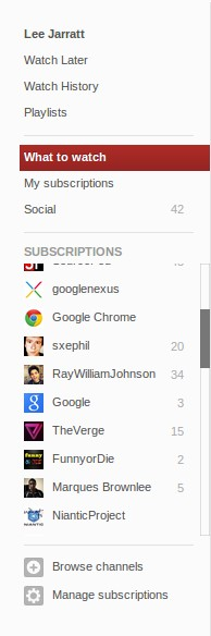 The sidebar in the new YouTube interface