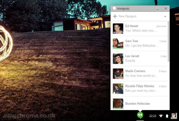 Google's new Hangouts app in 'Panel' mode