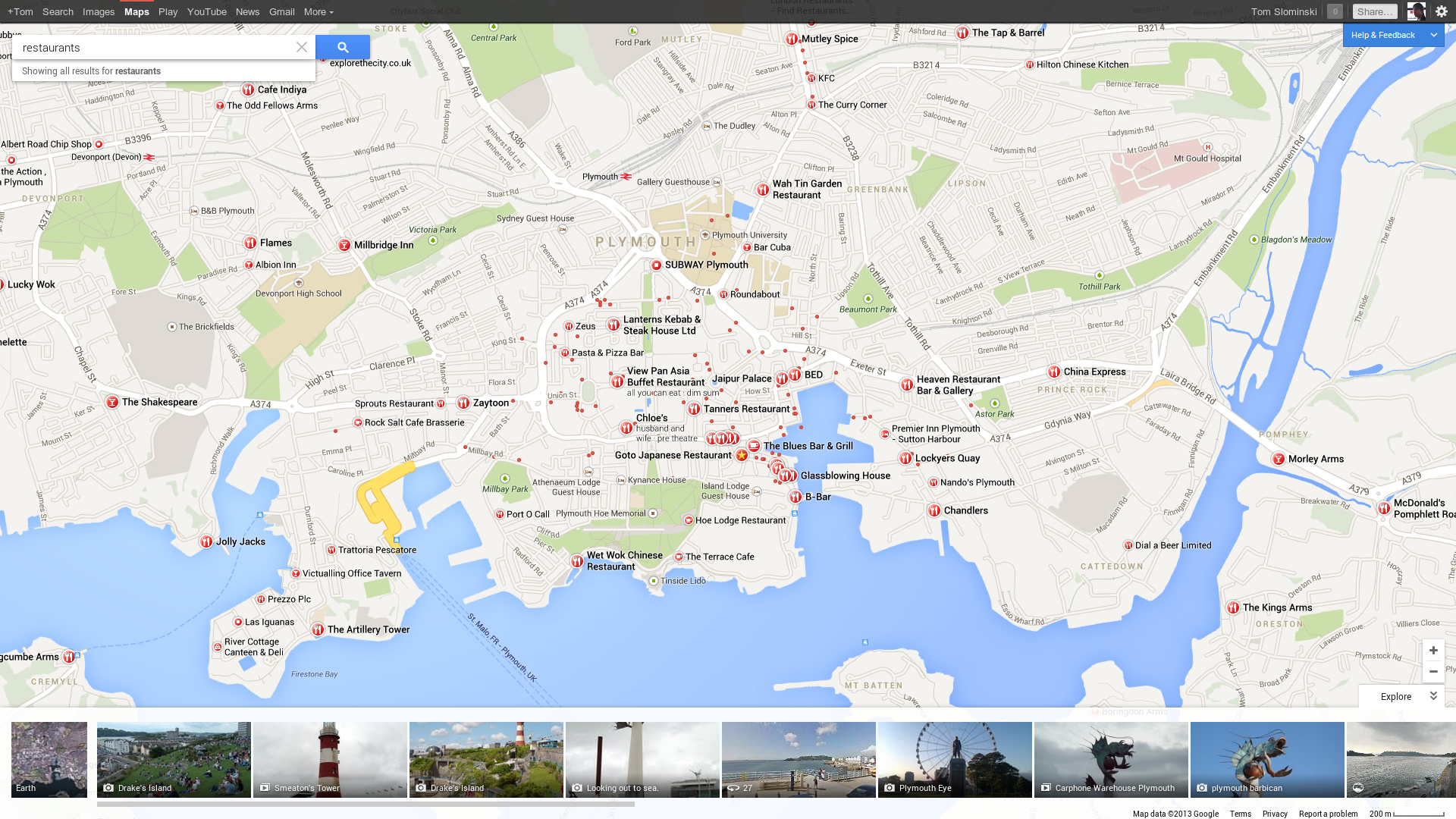 searching for something displays most important results as big icons on the map with the