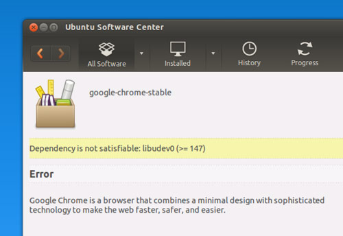 google-chrome udev0 error
