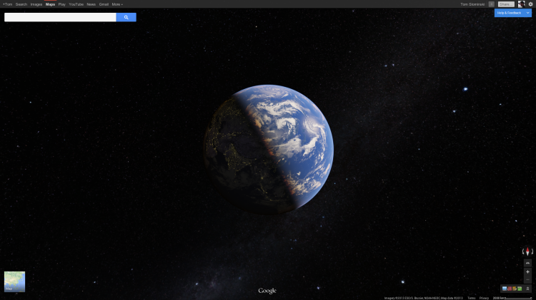 And if you zoom out even further, you get a beautiful view of the earth, which will be familiar to users of Google Earth. You can spin it freely and see on which side of the Earth light falls on right now. Google says the stars in the background are also real time.