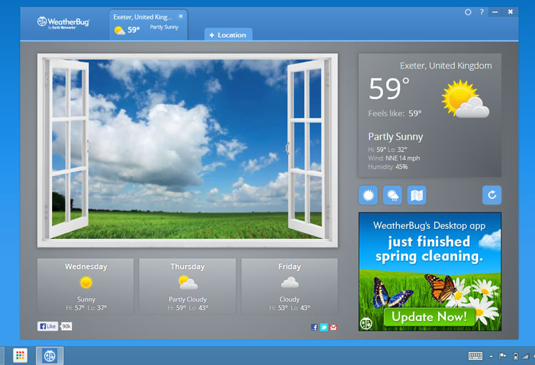 The Weatherbug Packaged App on Windows 8
