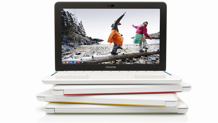 The white Chromebook 11 with subtle colour accents.