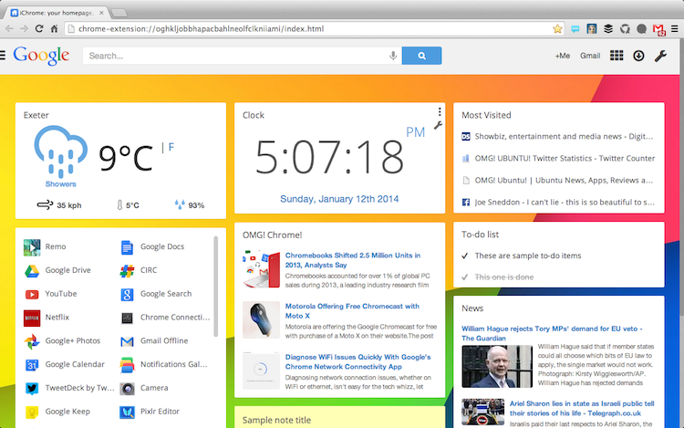 iChrome New Tab Page for Chrome - Part iGoogle, Part Google Now