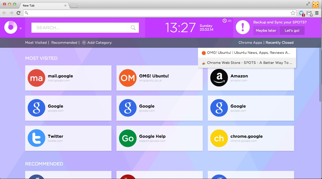 Spots - A Chrome New Tab Page With Tight Android Integration | OMG