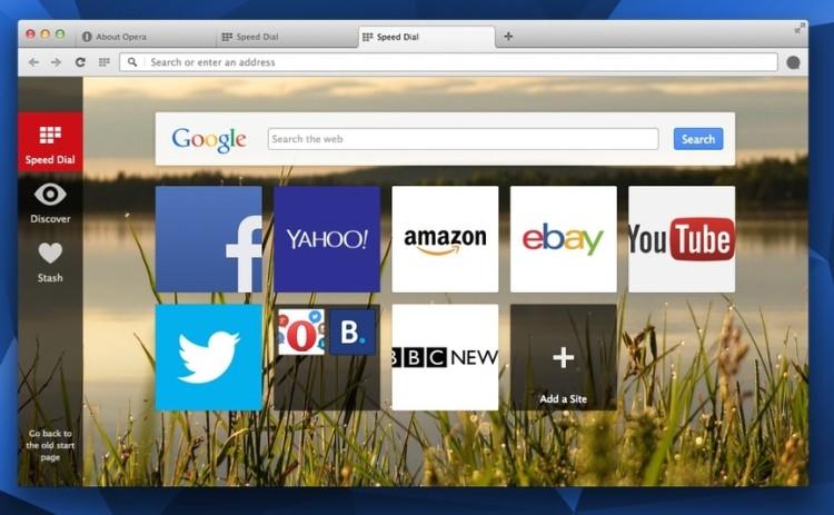 opera new start page flag