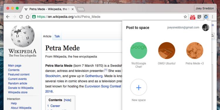 Google spaces chrome extension popover